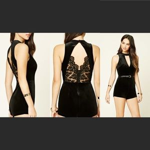 Forever 21 black velvet romper with lace detail